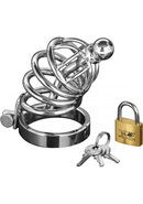 Master Series Asylum 4 Ring Locking Chastity Cage Stainless...